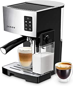 JASSY Espresso Machine, Multifunction Coffee Machine with Automatic Milk Frother, 19 Bar Pressure Coffee Brewer, Programmable, for Espresso, Double Espresso, Cappuccino, Latte, Black (JS100)