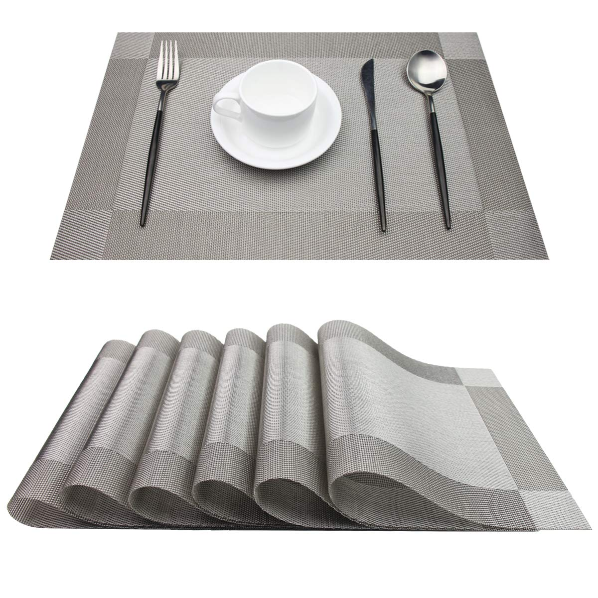pigchcy Placemats,Heat-Resistant Non Slip Placemats Easy Wipe Clean Table Mats Woven Vinyl Placemats for Dining Table Set of 6 (Grey)