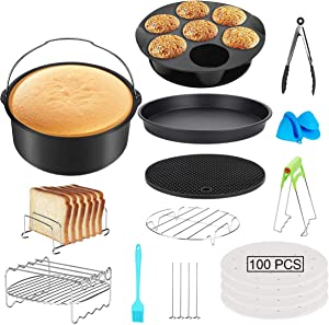 QAQGEAR Air Fryer Accessories Pressure Cooker Set of 112 Fit for 3.5QT-7.2QT Deluxe Deep Fryer Accessories 7 inch set basket grill Gift 4 PCS Barbecue Needle(Black)
