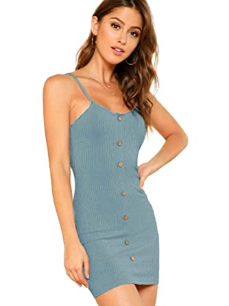 9c37c2d3056 SheIn Women's Sexy Button up Sleeveless Ribbed Knit Spaghetti Strap Mini  Dress X-Small Blue