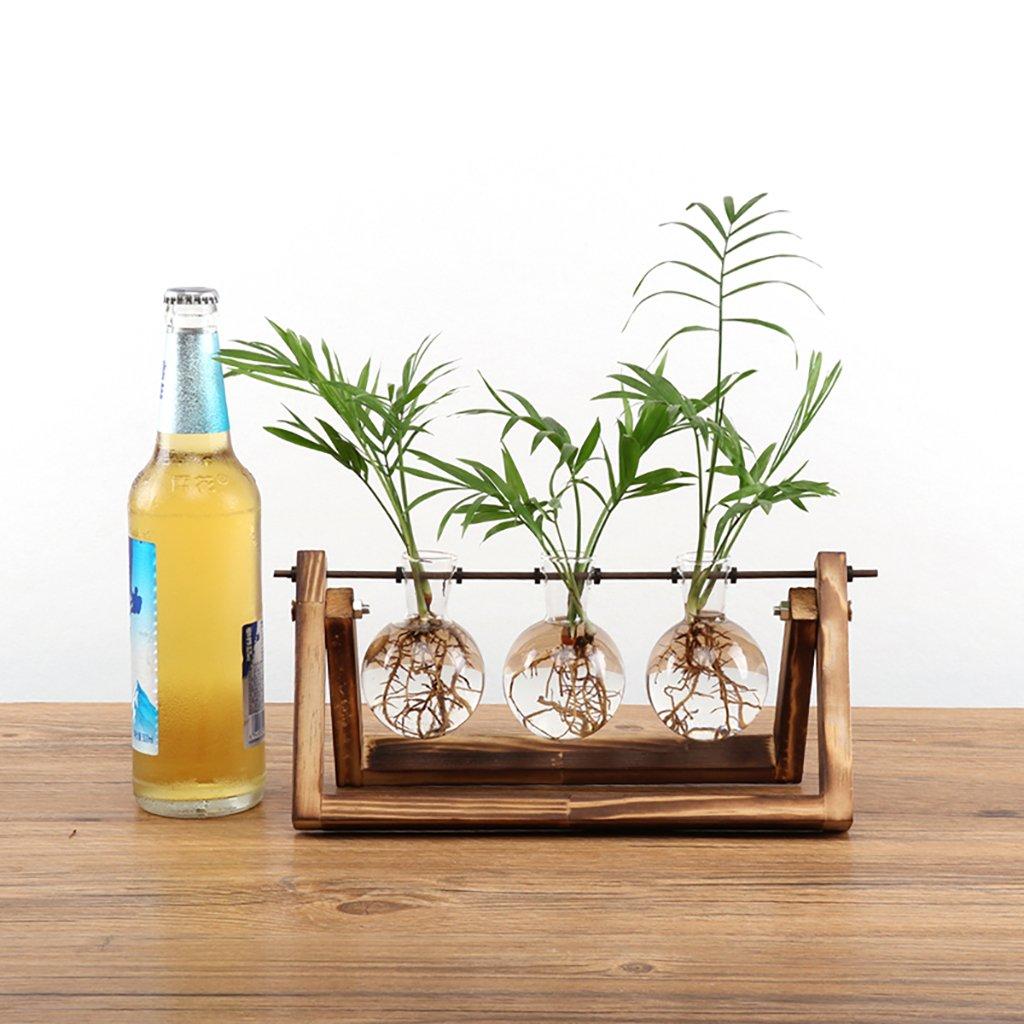 Ivolador Desktop Glass Planter Bulb Vase with Retro Solid Wooden Stand and Metal Swivel Holder for Hydroponics Plants Home Garden Wedding Decor (3 Bulb Vase)