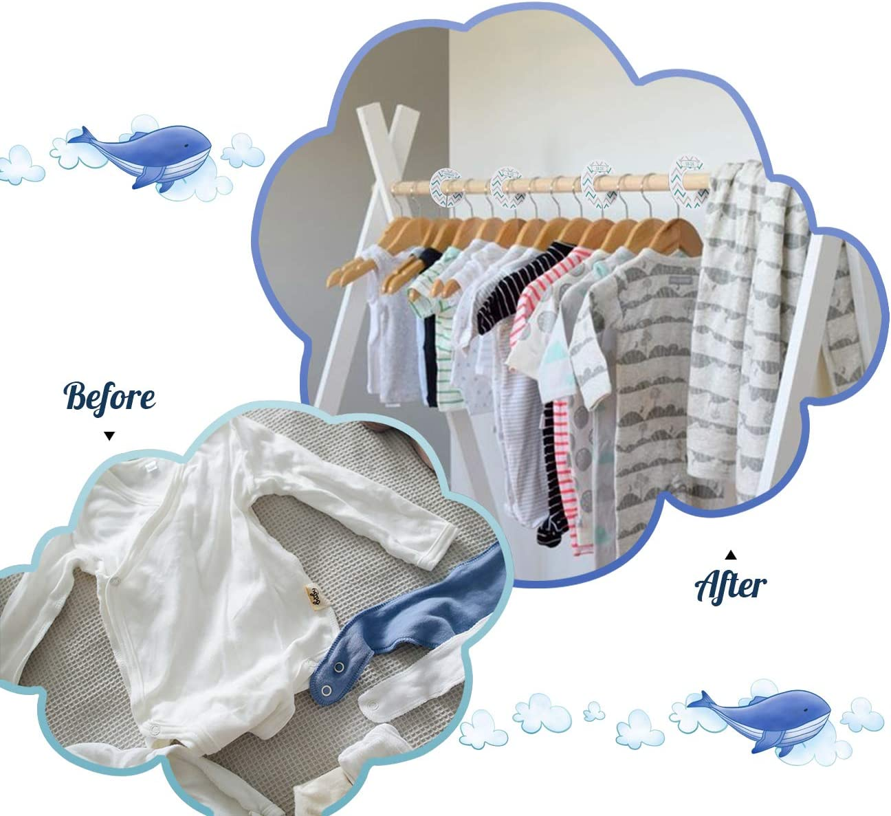 ilauke 8 Pack Nursery Wardrobe Dividers Plastic Baby Closet Size Dividers from Newborn Infant to Toddlers for Organize Babys Clothes(dot)