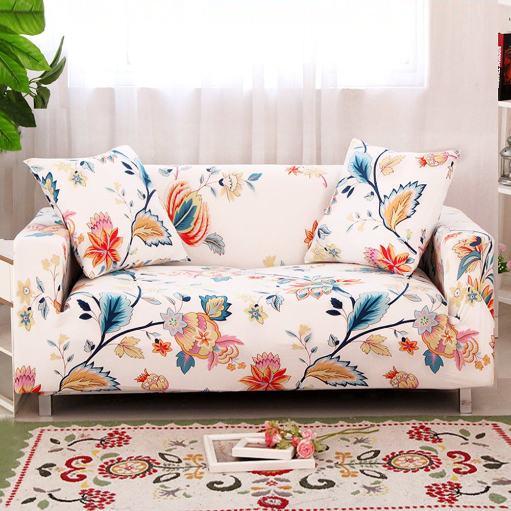 HOTNIU Sofa Slipcover Loveseat Printed 3 Seater Sofa Elastic Cover Universal Furniture Covers Sofas Arm Couch (Loveseat 53'' - 67'', Pattern #31)