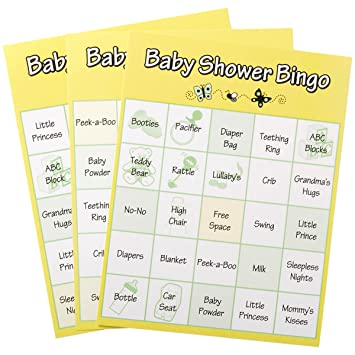 24 Baby Shower Game Bingo Cards