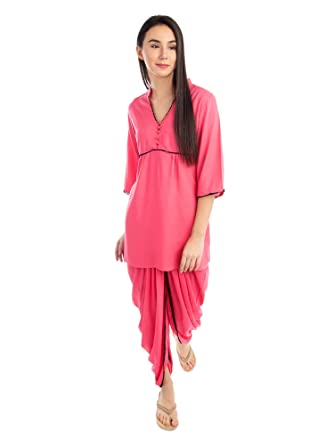 e696e89cc0 Patrorna Blended Women s Top and Dhoti Set Night Suit in Hot Pink (Size S
