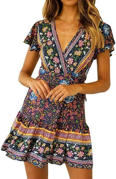 Vestidos Cortos Mujer Verano, Vestido de Bohemia de Cintura Alta Casual Sexy para Mujer Vestido Midi Estampado Nacional De Cuello En V Mujeres Vestidos Boho de Playa ...