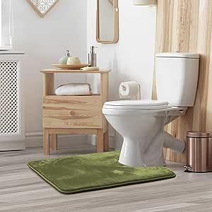 "Clara Clark Contour Bath Mat Bathroom Rug - Absorbent Memory Foam Bath Rugs - Non-Slip, Thick, Cozy Velvet Feel Microfiber Bathrug, Plush Shower, Contoured Round for Toilet - Sage - 19""x24"""