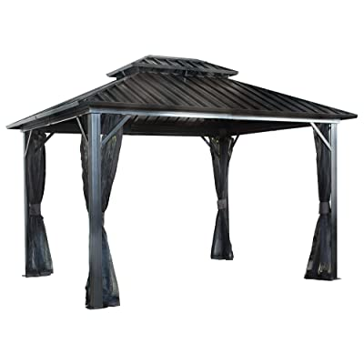 Sojag 12' x 12' Genova Double Roof Hardtop Gazebo 4-Season Outdoor Sun Shelter with Mosquito Net, Black, Brown : Garden & Outdoor