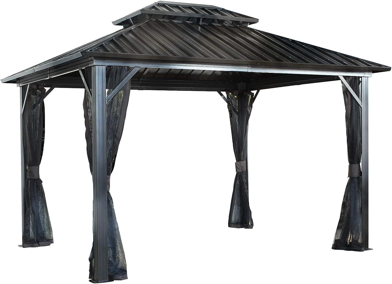 Amazon Com Sojag 12 X 12 Genova Double Roof Hardtop Gazebo 4 Season Outdoor Sun Shelter With Mosquito Net Black Brown Garden Outdoor