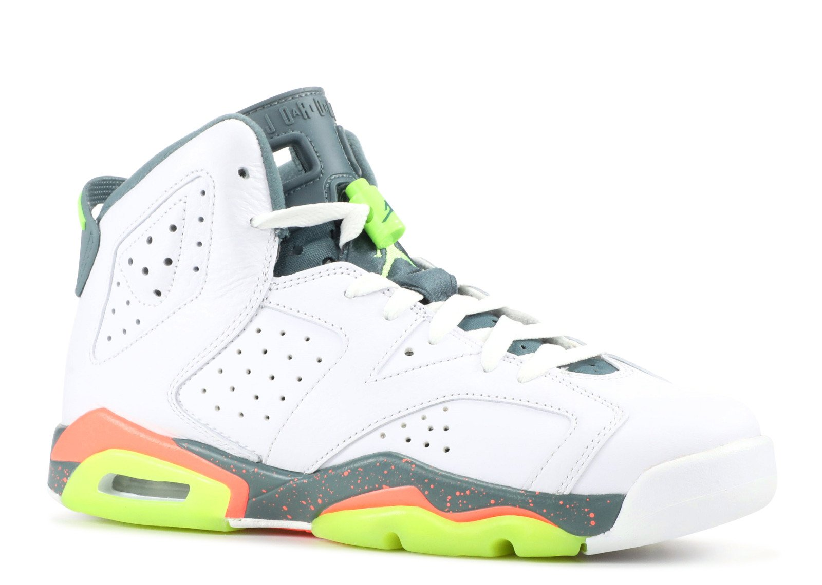 Jordan Kid's Air 6 Retro BG, WHITE/GHOST GREEN-HASTA-BRIGHT MANGO, Youth Size 3.5 by NIKE