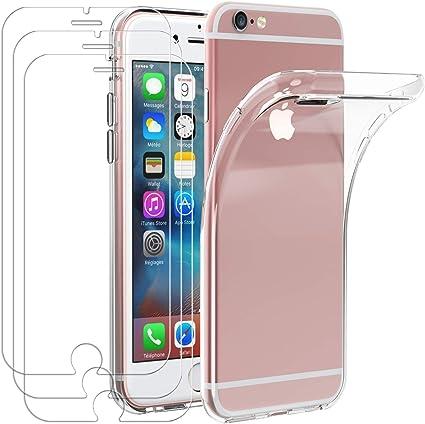 iVoler Custodia Cover per iPhone 6s Plus / 6 Plus 3 Pezzi Pellicola in Vetro Temperato, Ultra Sottile Morbido TPU Trasparente Silicone Antiurto ...