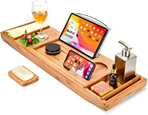 Trotinic Bathtub Tray,Luxury Bath Caddy Tray for tub with Nonslip Bottom & Extendable Sides for one or Two Person Bath and Bed,Bonus Free Soap Holder (Natural Bamboo Color)