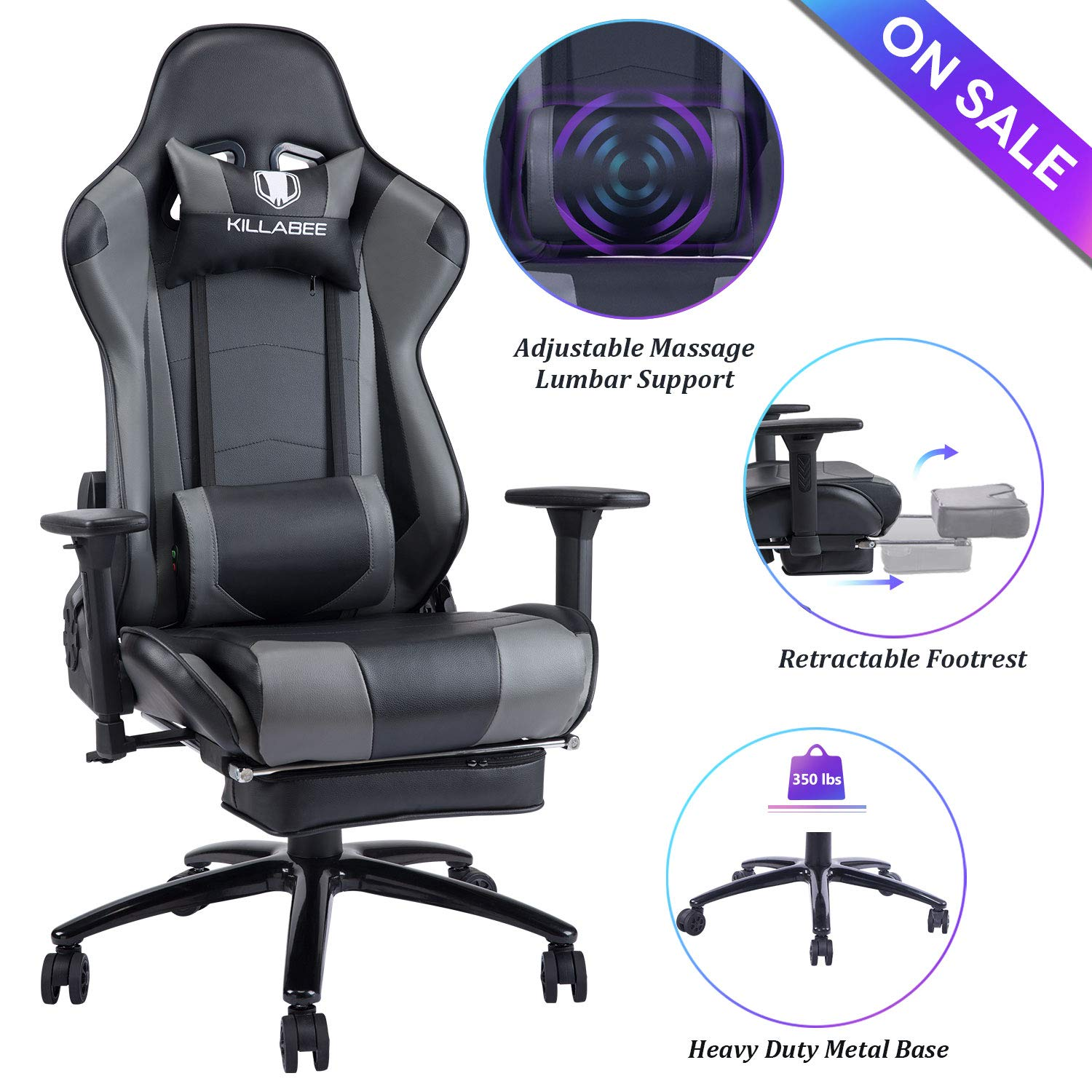 Blue Whale Massage Gaming Chair - Big and Tall 350lbs High Back Racing Computer Desk Office Chair Swivel Ergonomic Executive Leather Chair with Footrest and Adjustable Armrests (8280Gray) by Blue Whale