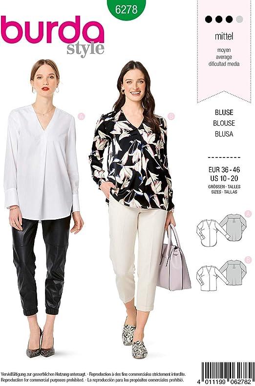 Burda 6278 Patron De Costura Para Confeccionar Blusa De Mujer Tallas 36 A 46 Amazon Es Juguetes Y Juegos