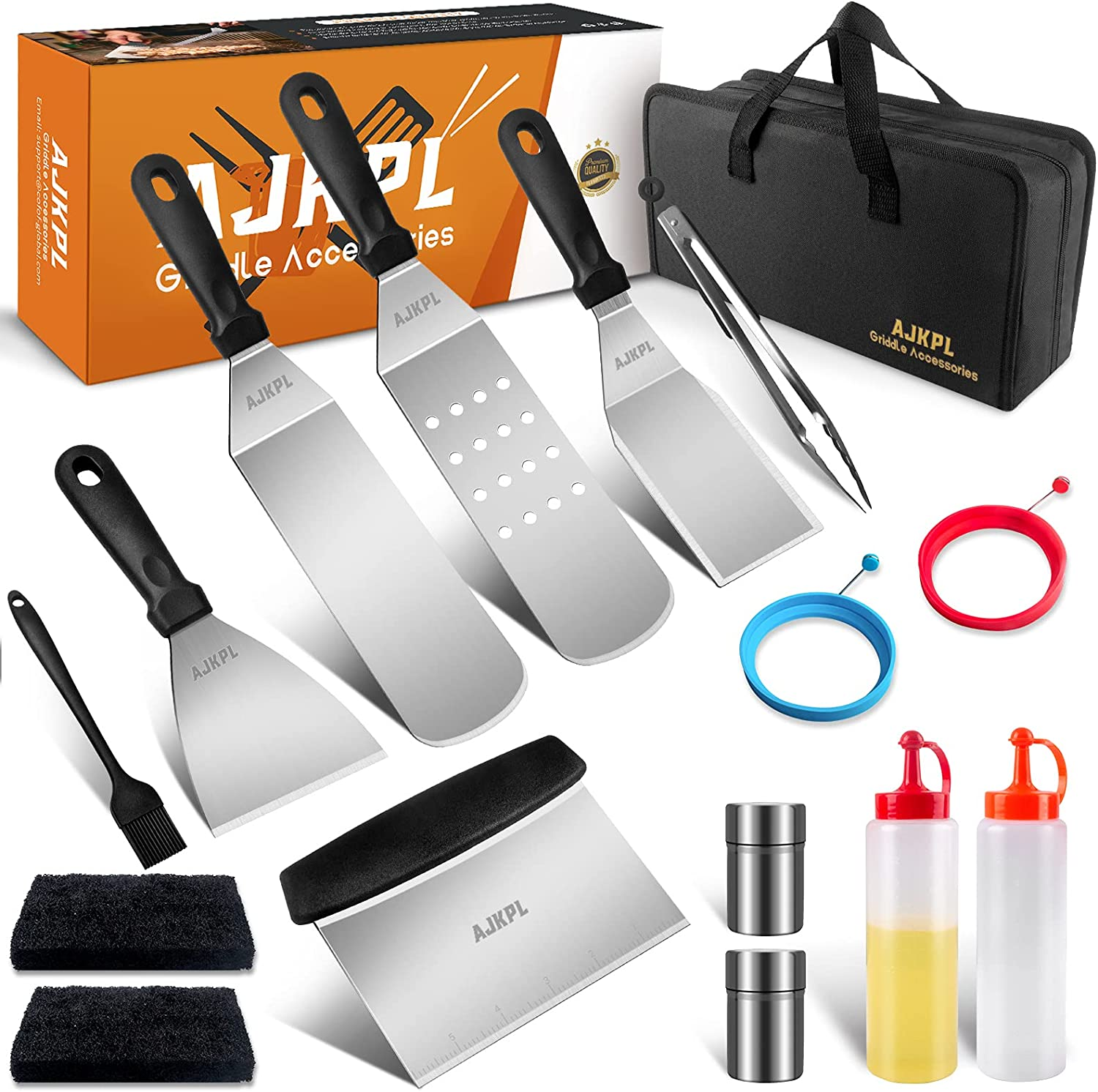 Griddle Accessories Kit, Flat Top Grill Accessories with Metal Spatula, Griddle Scraper, Cleaning Kit for Blackstone and Camp Chef, Griddle Accessories Tools Set for Outdoor, Hibachi and Teppanyaki : Garden & Outdoor