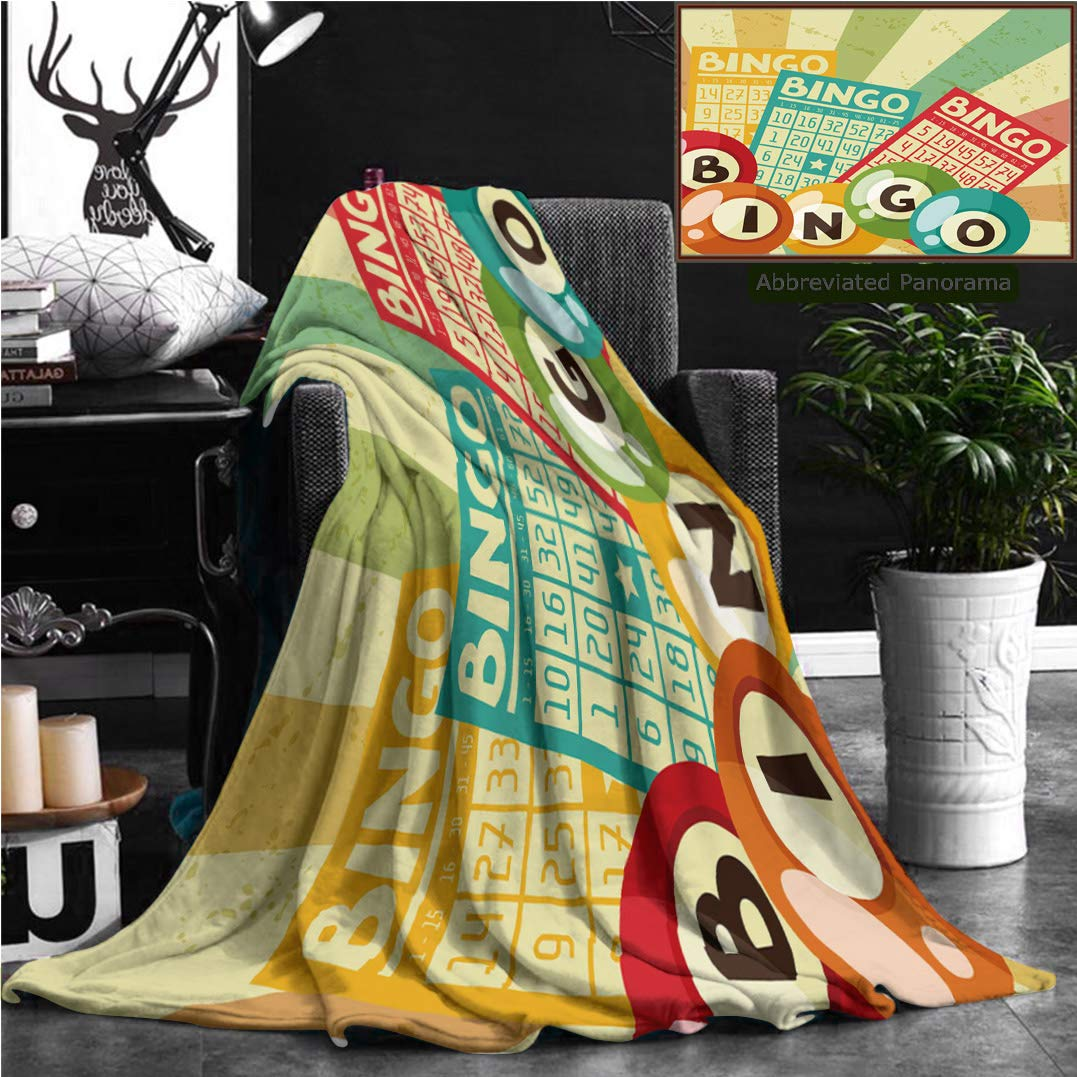 """Unique Custom Flannel Blankets Vintage Decor Bingo Game With Ball And Cards Pop Art Stylized Lottery Hobby Celebration Theme Super Soft Blanketry for Bed Couch, Twin Size 70"""" x 60"""""""