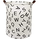 HIYAGON Large Sized Canvas Storage Baskets with Handle,Collapsible & Convenient Home Organizer Containers for Kids Toys,Baby