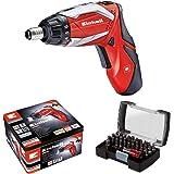 Einhell RT-SD 3,6/2 Li Kit - Pack con atornillador a batería y 32 accesorios, luz LED, 3.5 Nm, batería 1.5 Ah, 3.6 V, color rojo y negro