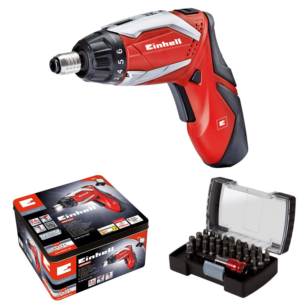 Einhell RT-SD 3.6/2 Li Kit Cordless Screwdriver Kit Complete with 32-Piece Bit Box - Red 4513495