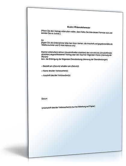 Widerrufsformular Online Shop Word Dokument Amazonde Software