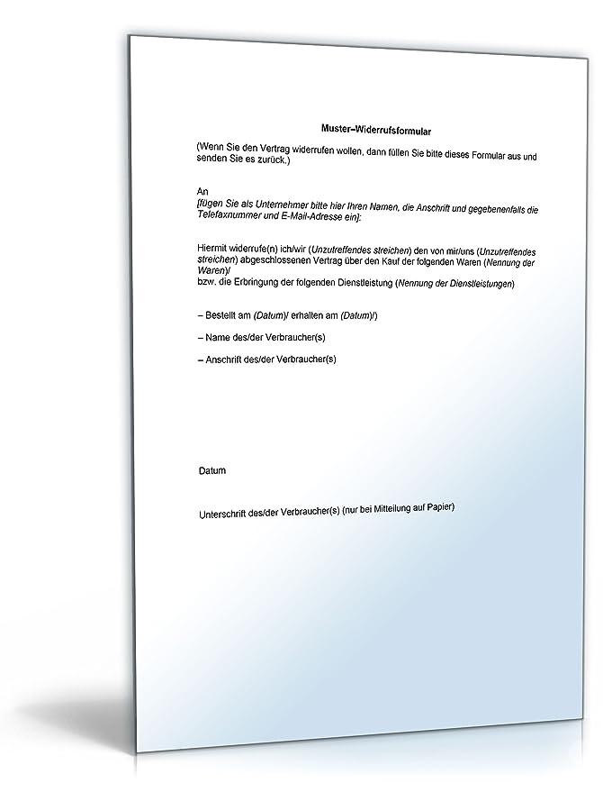 widerrufsformular online shop word dokument amazonde software - Widerrufsformular Muster