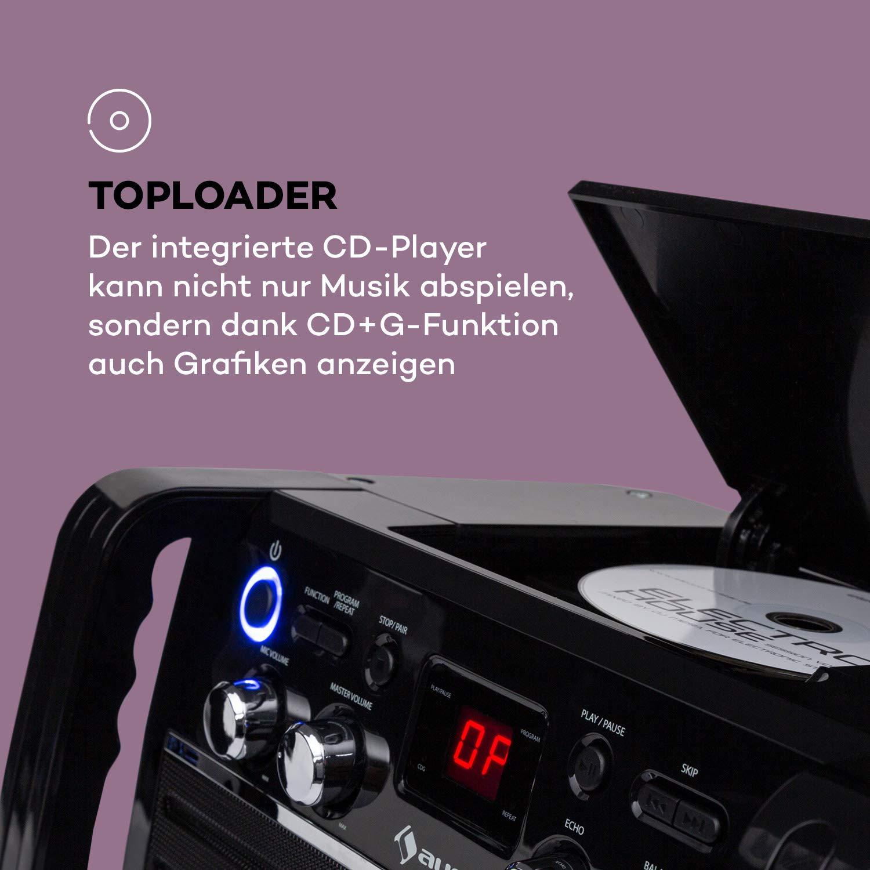 Karaokemaschine Aufnahmefunktion CD-Player und USB-Port mit MP3-Unterst/ützung AUNA DiscoFever LED Edition schwarz Mikrofon und Karaoke-CD Bluetooth-Karaokeanlage mit 7 TFT-Screen