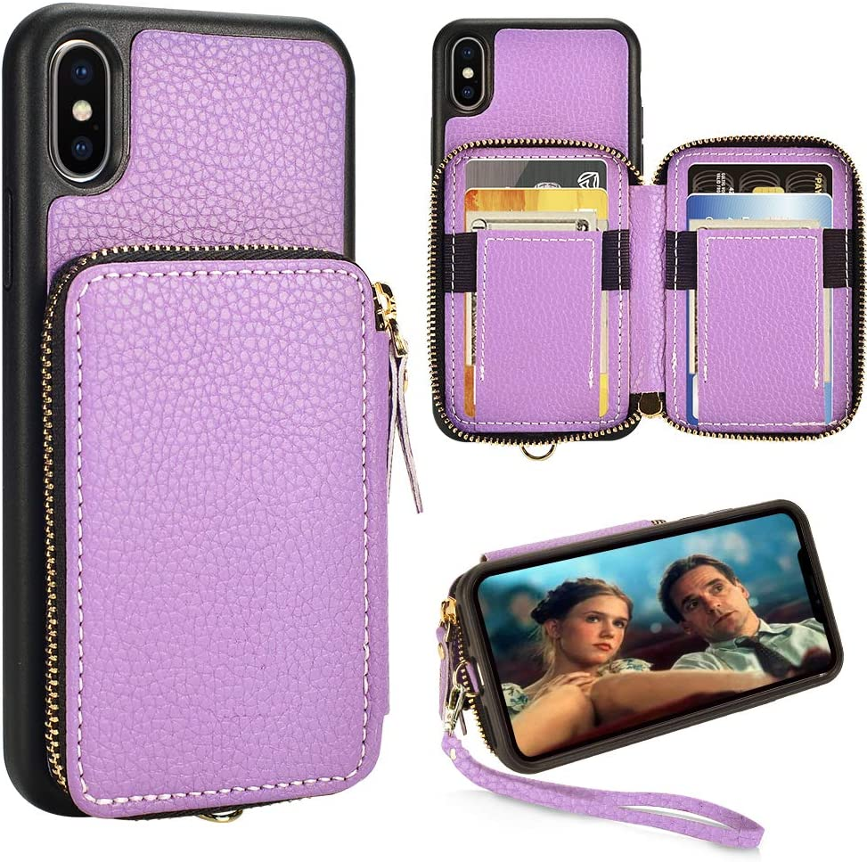 iPhone Xs and iPhone X Wallet Case,5.8 inch,ZVE iPhone X and XS Zipper Wallet Case with Credit Card Holder Slot Handbag Purse Wrist Strap Case for Apple iPhone X/XS 5.8 inch - Light Purple