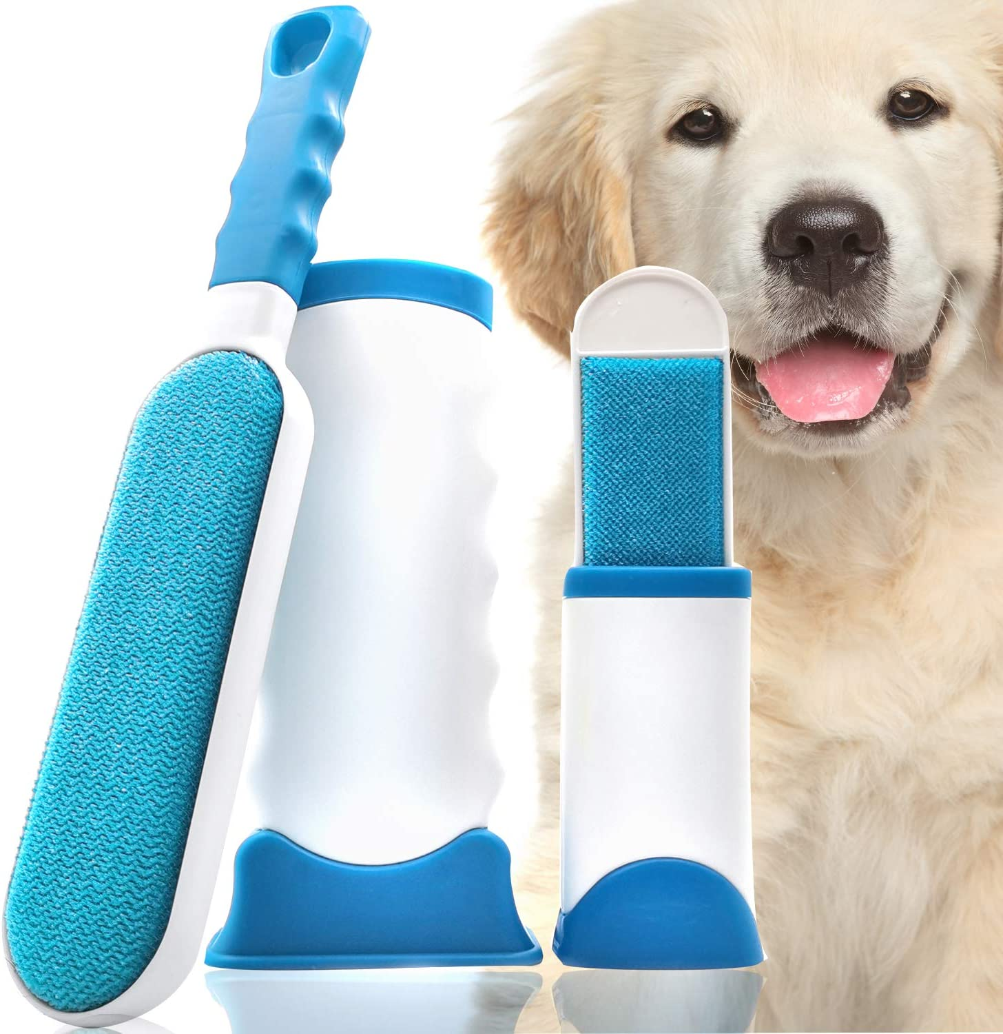 Hesland Pet Hair Remover Brush with Self-Cleaning Base Carpet with 1pcs Free Mini Pet Hair Remover Dog Cat Hair Remover for Furniture Clothing Car Seat Couch