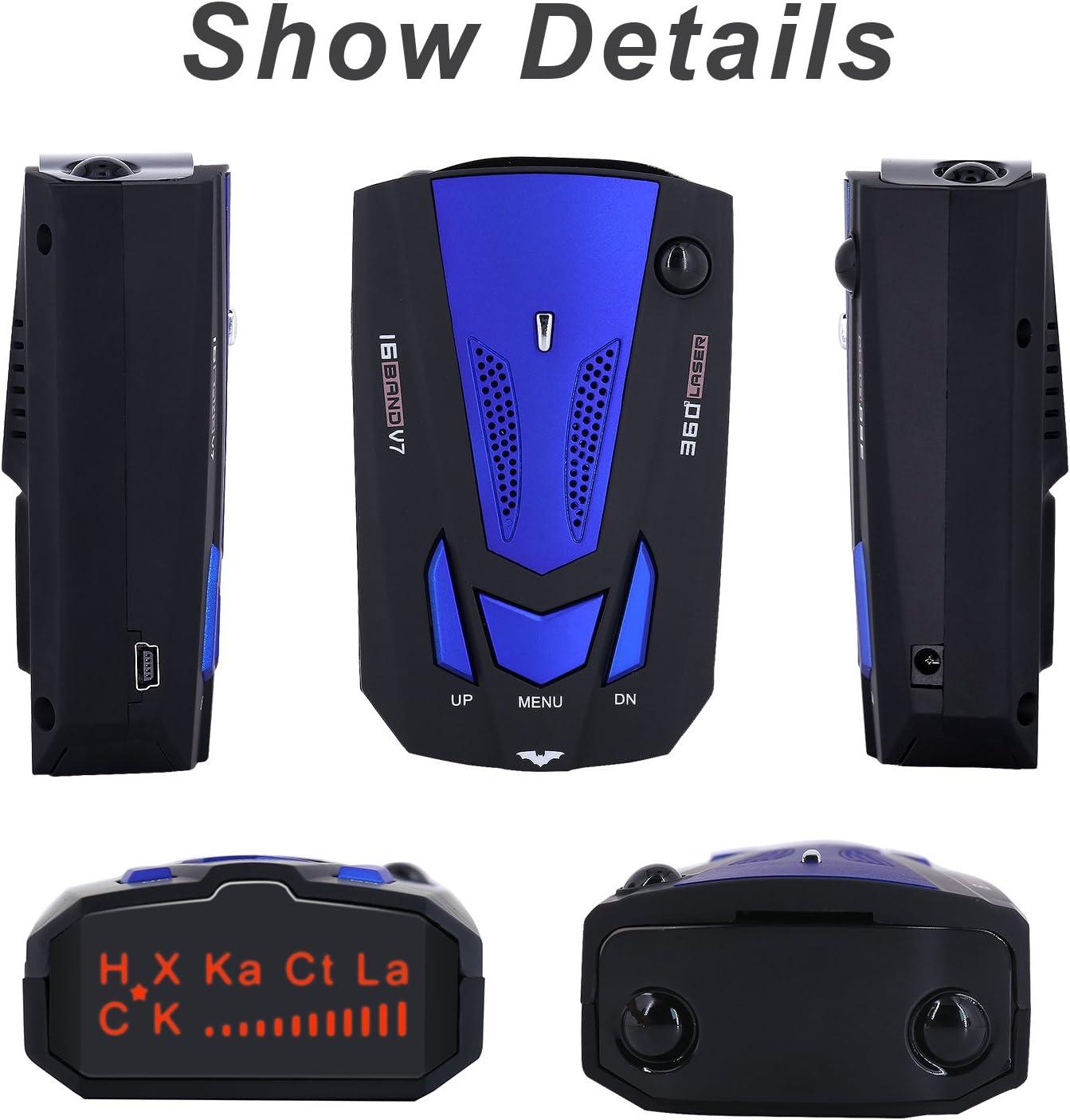 BESWORLDS New Radar Detector Car Speed Laser Radar Detector with Voice Alert and Alarm System Blue Auto Policy Laser Radar Detector Kit for Cars