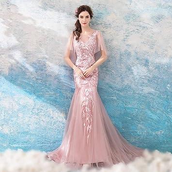 c2cc2e114d5 TY-ER Robe de Fiançailles Robe de Mariée Sirène Rose Dentelle de Gaze  Perspective Robe