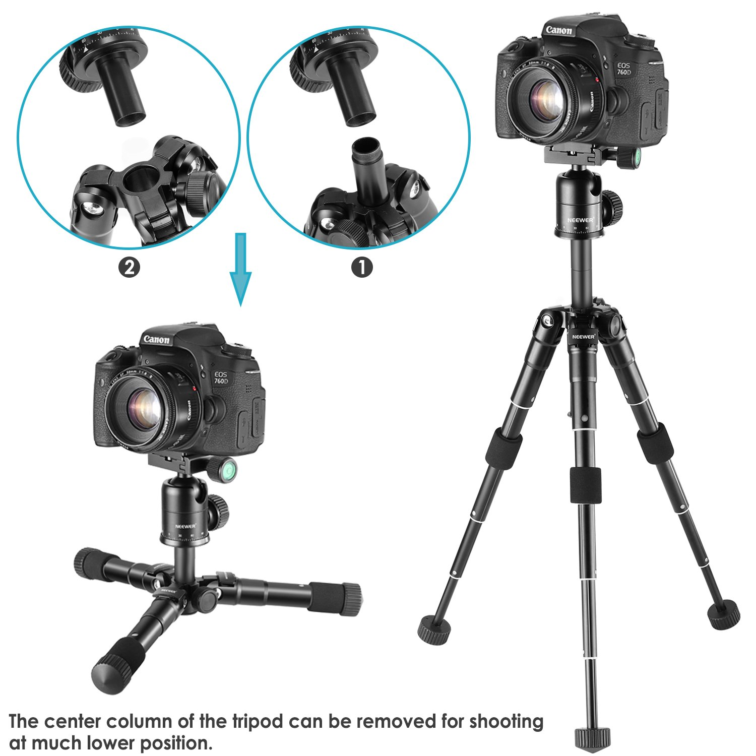 Bag for DSLR Camera Neewer 20 inches//50 centimeters Portable Compact Desktop Macro Mini Tripod with 360 Degree Ball Head,1//4 inches Quick Release Plate Video Camcorder up to 11 pounds//5 kilograms