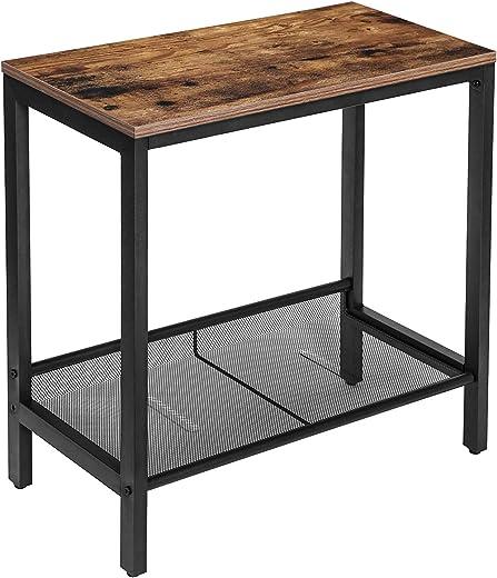 HOOBRO Beistelltisch, Klein Sofatisch, Schmal Nachttisch mit verstellbare Ablage, Couchtisch für kleine Räume, Konsolentisch, platzsparend, einfach... 1