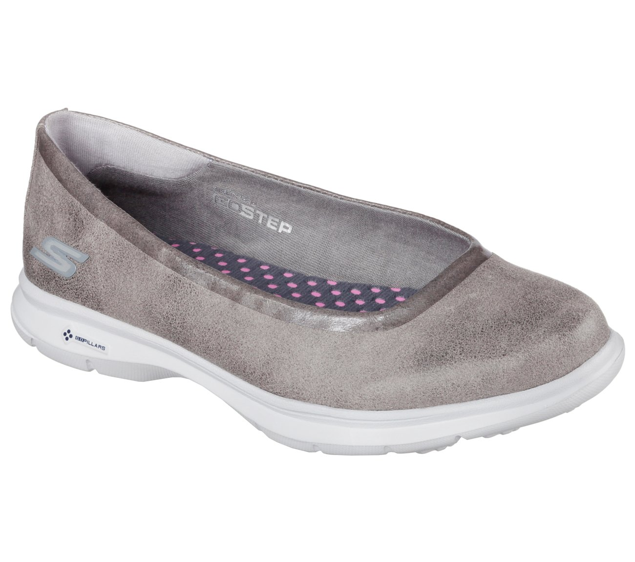 Skechers Go Step Distinguish Womens Slip On Ballet Flat Sneakers Gray 8.5