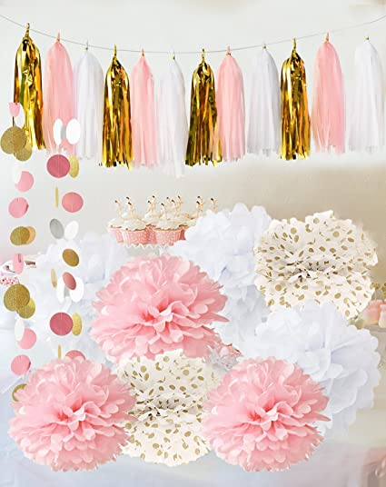 Qianu0027s Party Baby Pink Gold White Baby Shower Decorations For Girl/Party  Decorations First Birthday