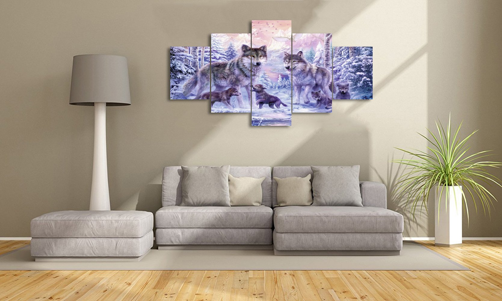 Yatsen Bridge Modern Animals Painting On Canvas Wall Art Prints Wolves In The Snow Pictures Artwork for Living room Bedroom Stretched By Wooden Frame Ready To Hang For House (60x32inch) by Yatsen Bridge (Image #3)