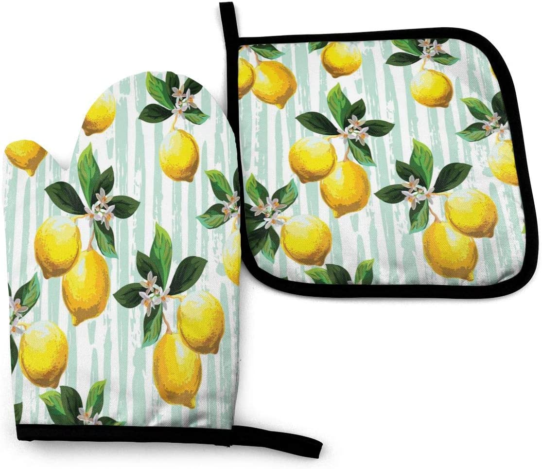 Foruidea Yellow Lemon Floral Flower Oven Mitts and Pot Holders Sets Kitchen Heat Resistant Oven Gloves for BBQ Cooking Baking Grilling Machine Washable (2-Piece Sets)