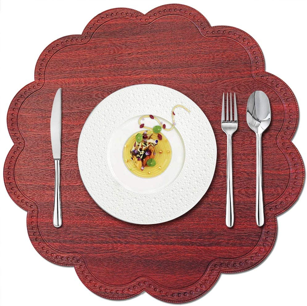 Kreatur Round Waterproof Placemats for Dining Table Set of 6,Modern PU Washable Table Mats Non-Slip Easy to Clean for Home Kitchen Decor (Cherry Red)
