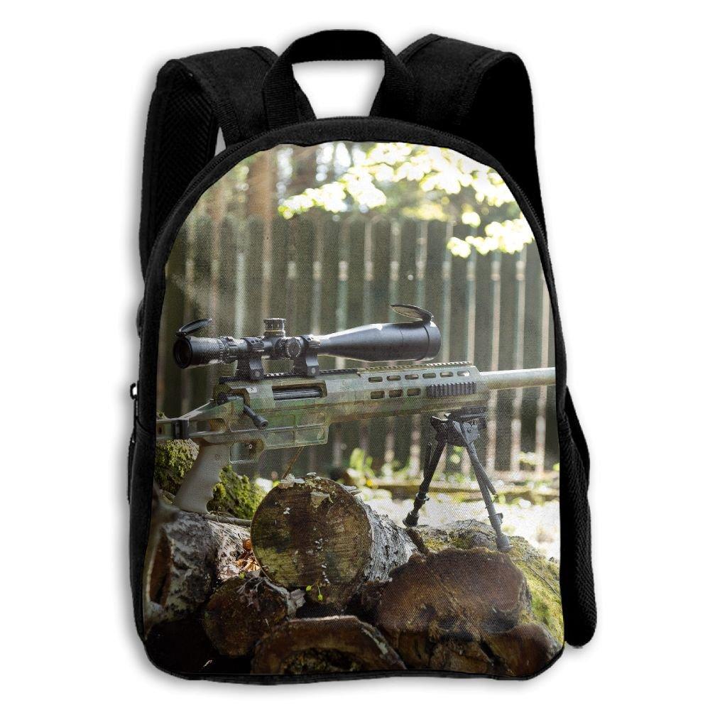 fidaljfグリーンCamo Sniper Gun子供の3dプリントファスナー付き旅行バッグ学校バックパック B07DVK7VLV