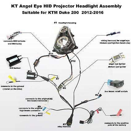 amazon com kt headlight assembly for ktm duke 200 2012 2017 white rh amazon com  ktm duke 200 electrical wiring diagram