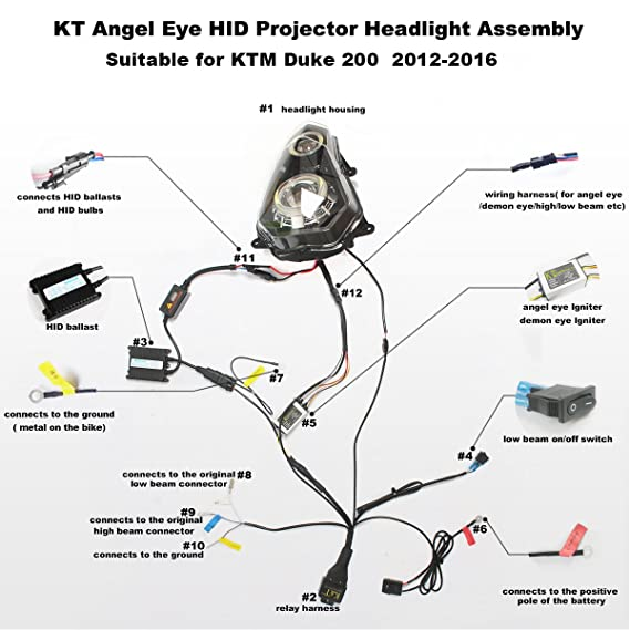amazon com kt led angel eye headlight assembly for ktm duke 200 rh amazon com