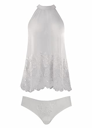 Fantasy Lingerie Women s Sheer White Vintage Style Top and Panty Set (Small) b1a8a13f4