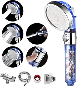 MIAOHUI Blue Zenbody Shower Head with Filter Beads, 3 Modes Shower Envy Showerhead with On Off Switch, Handheld Eco Water Spa Shower Head with Hose, Adjustable Bracket, Self-adhesive Holder