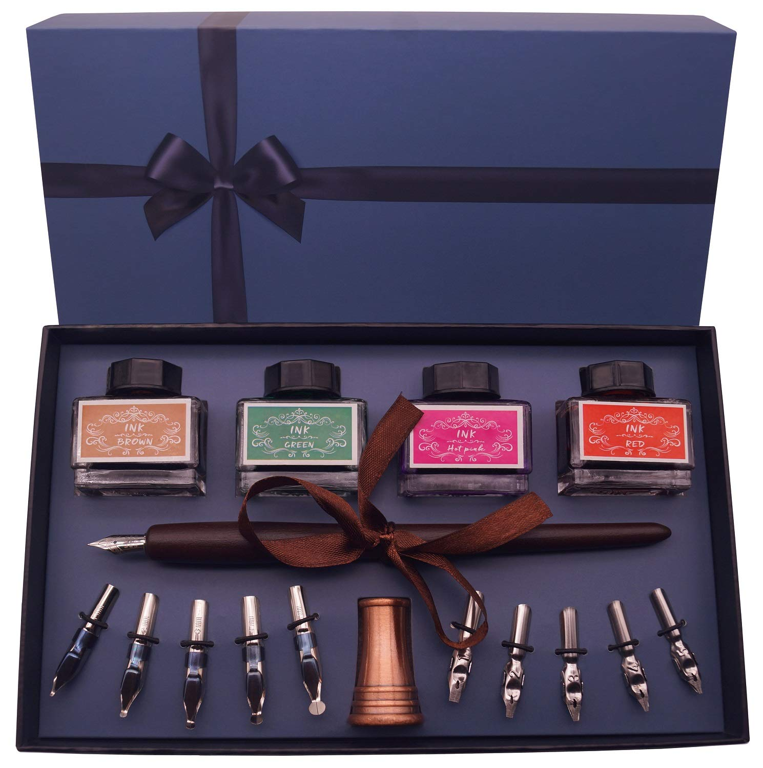 Plotube Calligraphy Pen Set - Includes Wooden Dip Pen, Antique Holder, 11 Nibs, 4 Ink Bottle by plotube