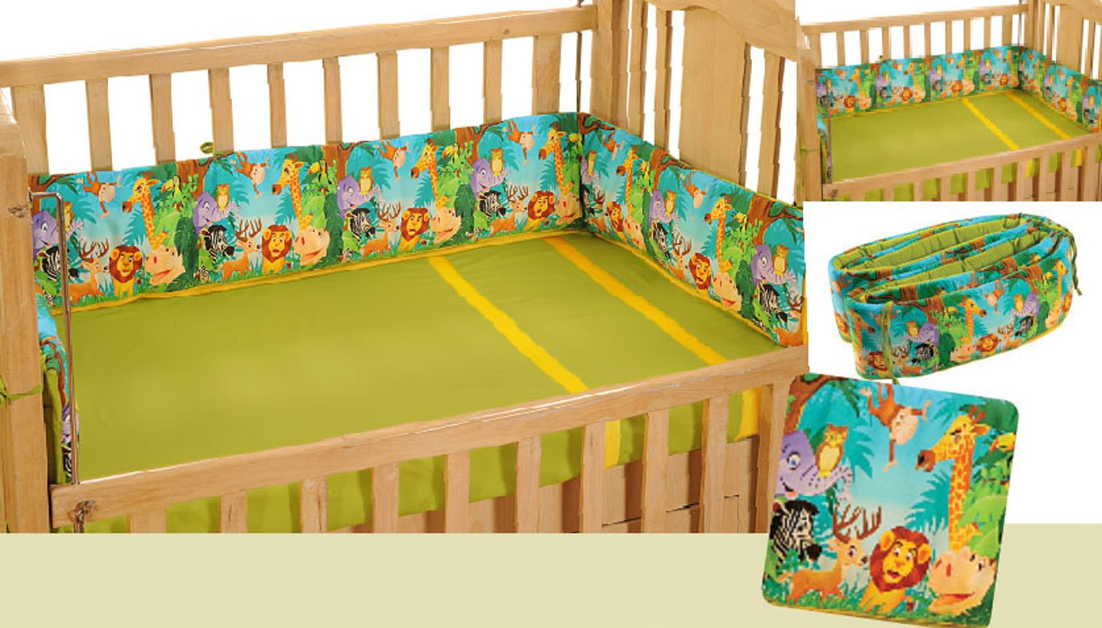 Yuga 100% Cotton 4 Sided Cot Bumper Wrap Around Breathable Jungle Safari Baby's Safe Bed