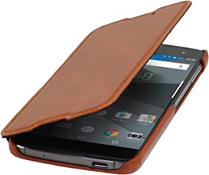 StilGut Book Type Case, Custodia in Pelle Cover per Blackberry DTEK60. Chiusura a Libro Flip-Case in Vera Pelle, Cognac