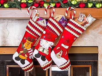 Amazon Com 3 Pcs Set Classic Christmas Stockings 18 Cute Santa S