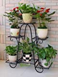 Green Gardenia Iron Plant Stand / Pot Stand (6 Pot Holder)