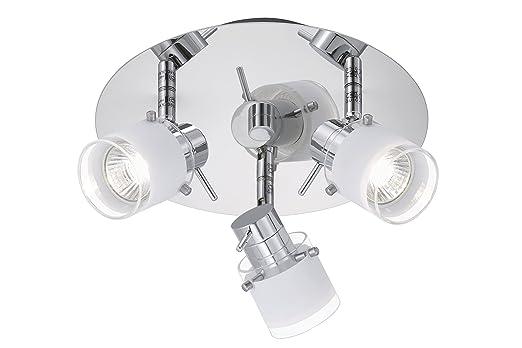 Briloner Leuchten Badleuchte, Badlampe, Deckenleuchte 3 X GU10, 35W, 220lm,  Dimmbar
