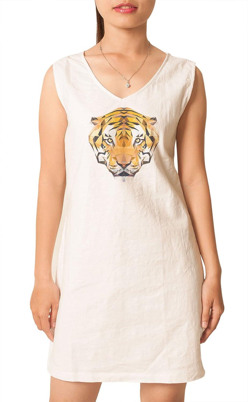 Tiger Head Printed Vintage Cotton V-neck Linen Mini Shift Dress WDS/_02 6