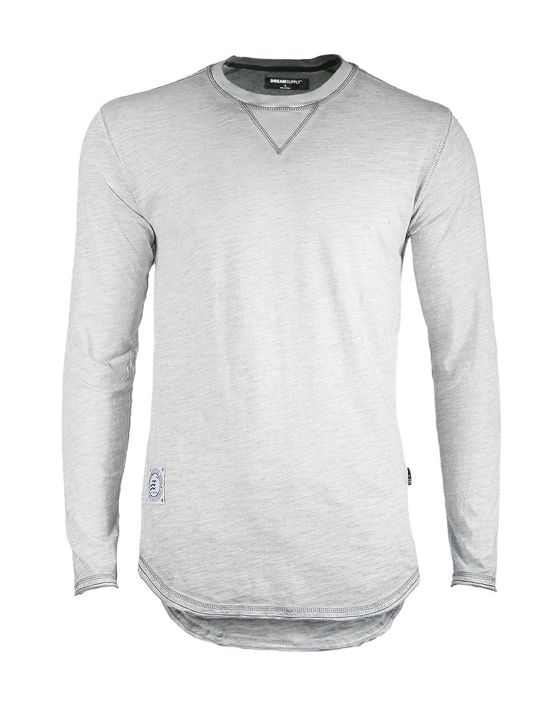 Men's Long Sleeve Crewneck Oil Wash Vintage Raw Edge Hem Hipster Hip-Hop T shirt